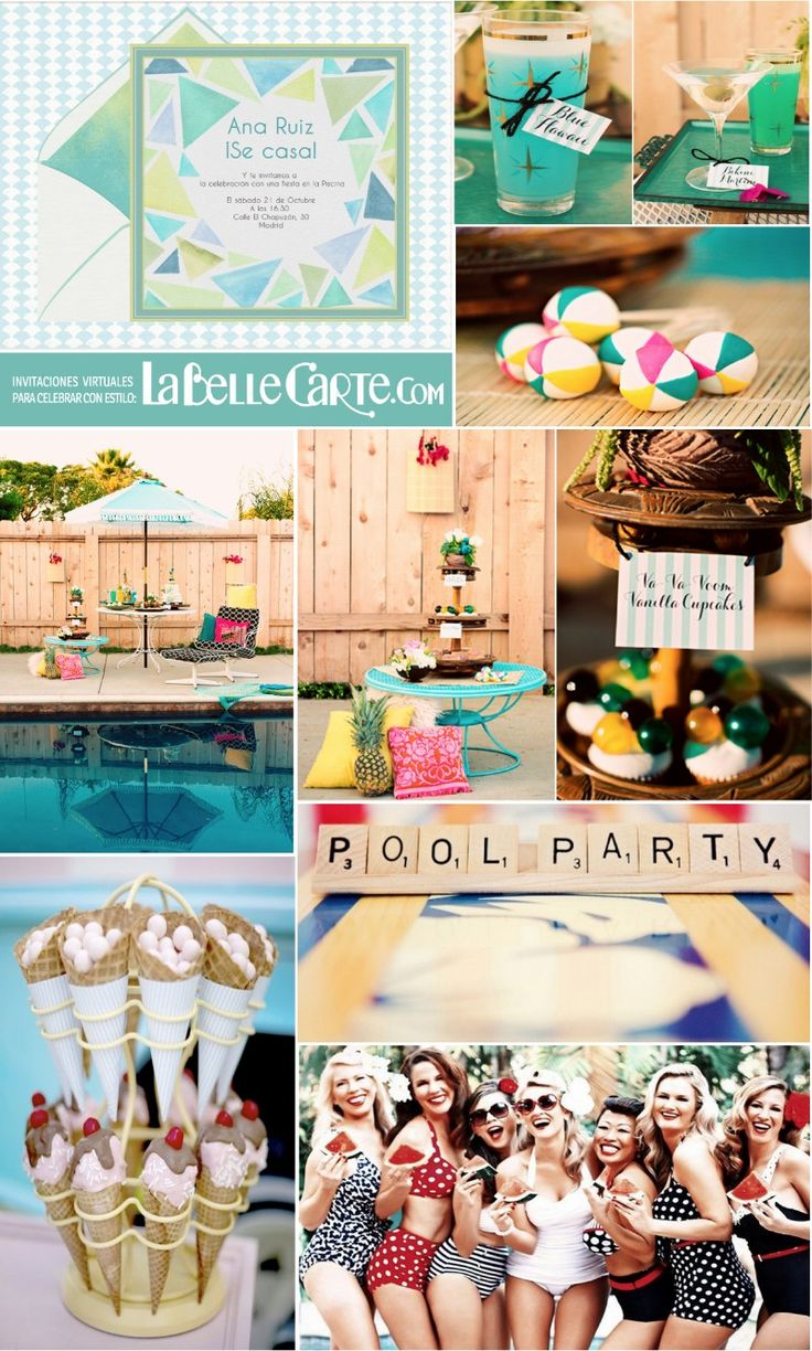 Invitaciones para Despdida de soltera, Invitaciones despedida de soltera, Fiesta en la piscina, Despedida de soltera en la piscina Para Más Info Visita: www.LaBelleCarte.com Online bridal shower invitations, Online bridal shower cards, bridal shower party, pool bridal shower, bridal shower vintage pool, bridal shower ideas For More Info Visit: www.LaBelleCarte/en