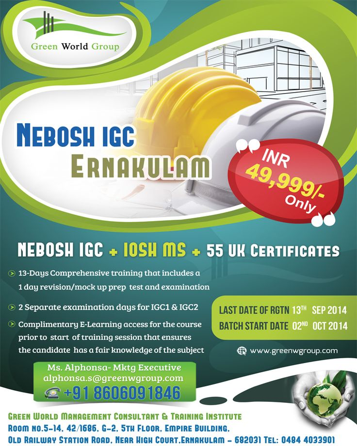 Green World Group Offers For Nebosh Course In Cochin At 49999 INR And Get