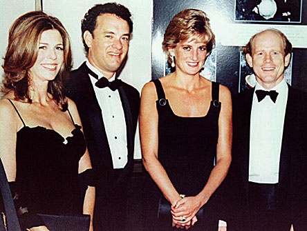 "September 7, 1995: Princess Diana meets Toms Hanks & his wife, Rita Wilson and director Ron Howard at the premiere of ""Apollo 13""."
