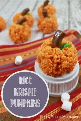 Rice Krispie Pumpkins are so easy to make! Just a little orange food coloring and love from you transform them into something special!!!