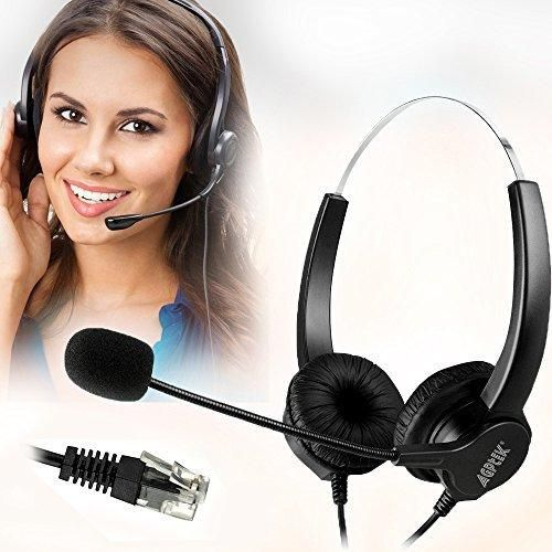 AGPtEK Hands-free Call Center Noise Cancelling Corded Binaural Headset Headphone with 4-Pin RJ9 Crystal Head and Mic Mircrophone for Desk Phone - Telephone Counseling Services Insurance Hospitals