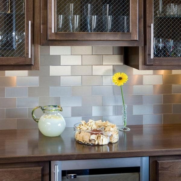 Self Stick Metal Backsplash Tiles Home Depot Metal Tile: Contemporary Kitchen Stainless Steel Self Adhesive