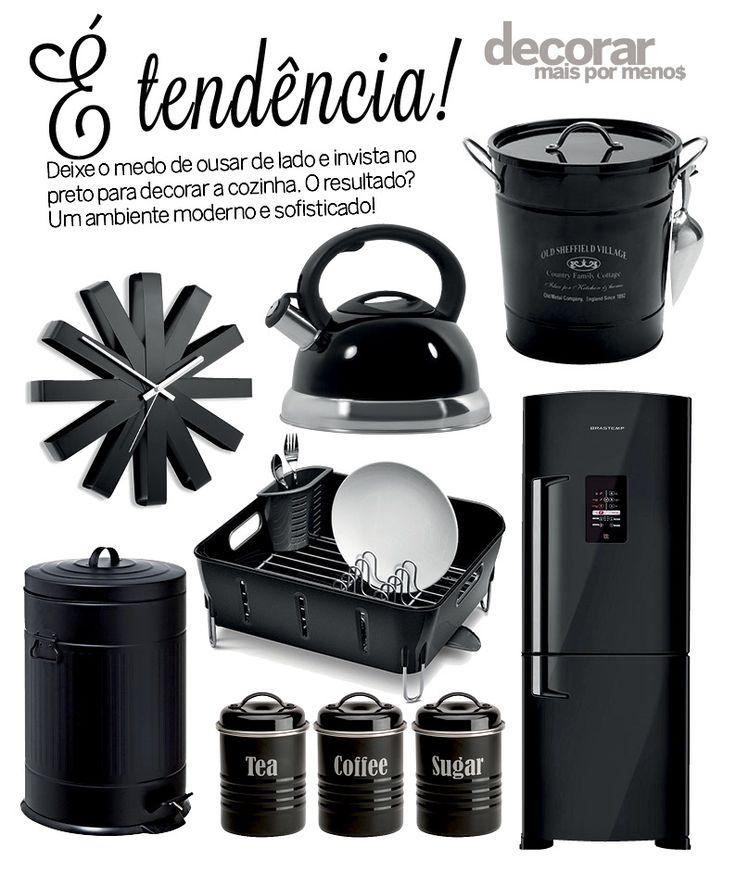 Produtos cheios de estilo para decorar a sua cozinha usando o preto como destaque!