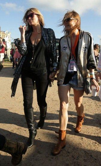 Kate moss and Stella McCartney at glastonbury