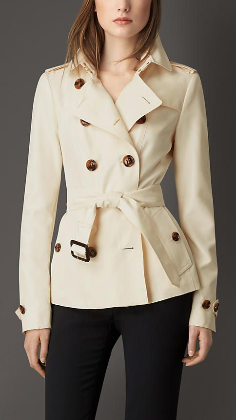 Burberry Parchment Silk Trench Jacket - A double-breasted trench jacket in silk.  Cut for a feminine finish, the design features set-in sleeves and a ruche skirt.  Discover the women's outerwear collection at Burberry.com