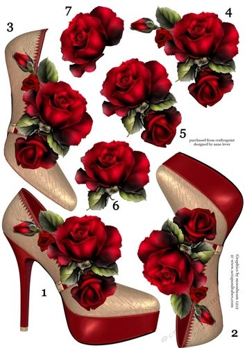Stunning Shoes & Red Roses Decoupage Sheet | Craftsuprint