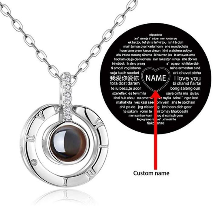 Personalized I Love You 100 Language Projection Necklace I Love You Ring Love Necklace Nanotechnology