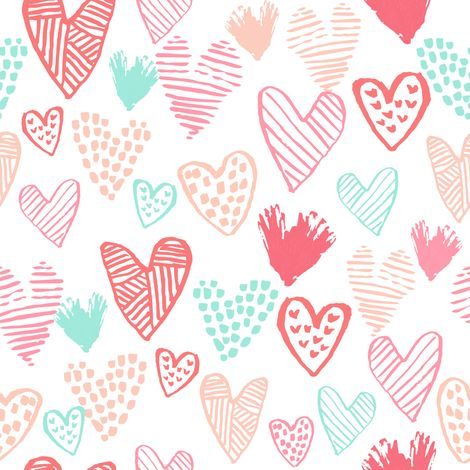 blush pink and mint hearts fabric valentines love design cute valentines day love hearts fabric by charlottewinter on Spoonflower - custom fabric