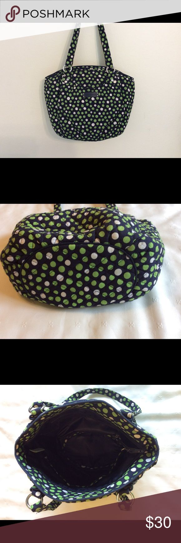 "Bright and happy Vera Bradley tote bag.  EUC Vera Bradley Lucky Dots Glenna tote bag.  Nice and roomy with wide bottom.  Approx 12"" X 15"" without handles.  Navy background with lime green and white polka dots. Vera Bradley Bags"