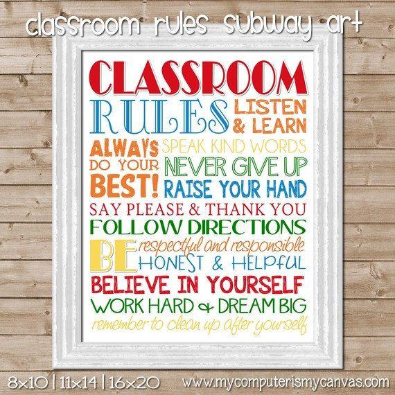 CLASSROOM Rules Subway Art, Teacher Gift, School -  Printable INSTANT Download