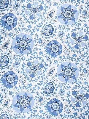 Fabricut Fabric - Camille Suzani - Indian Sea - $51.25 Per Yard  #interiors #decor #home #design #floral #blue #white #pattern #pillows #drapery #curtains #living #room #bedroom #global #ethnic
