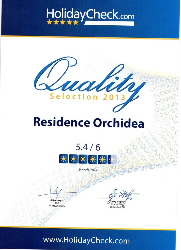 Riconoscimento 2013 di Holiday Check a #residenceorchidea #pietraligure
