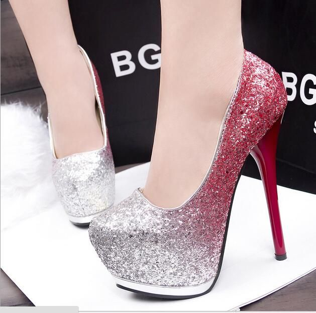 313-204 Korean fashion fine with nightclub sexy high-heeled shoes waterproof super thin low shoes
