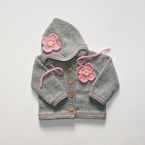 Knit grey baby girls set with pink flower merino set with pink strips MADE TO ORDER