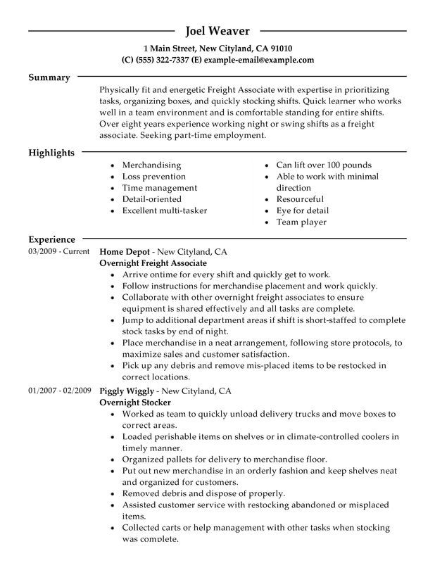 part time overnight freight associates resume sample perfect the examples job for
