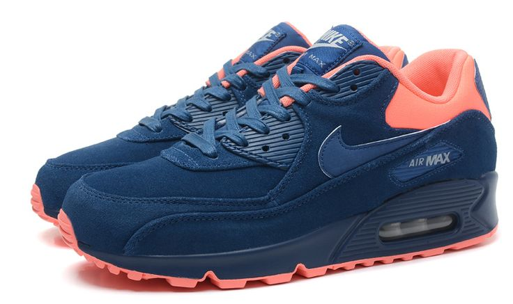 Men's Nike Air Max 90 Sneaker Shoes A+ Jogging Shoes Suede Navy Orange #cheapshoes #sneakers #runningshoes #popular #nikeshoes #authenticshoes