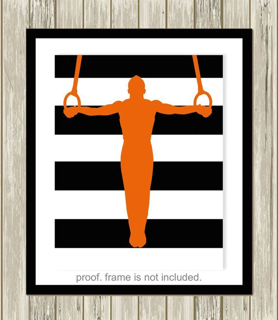 Boys gymnastics wall art, acrobat, gymnast, boys wall art, teen boy room decor, pre teen boy gift, choose your sports and colors by PicabooArtStudio