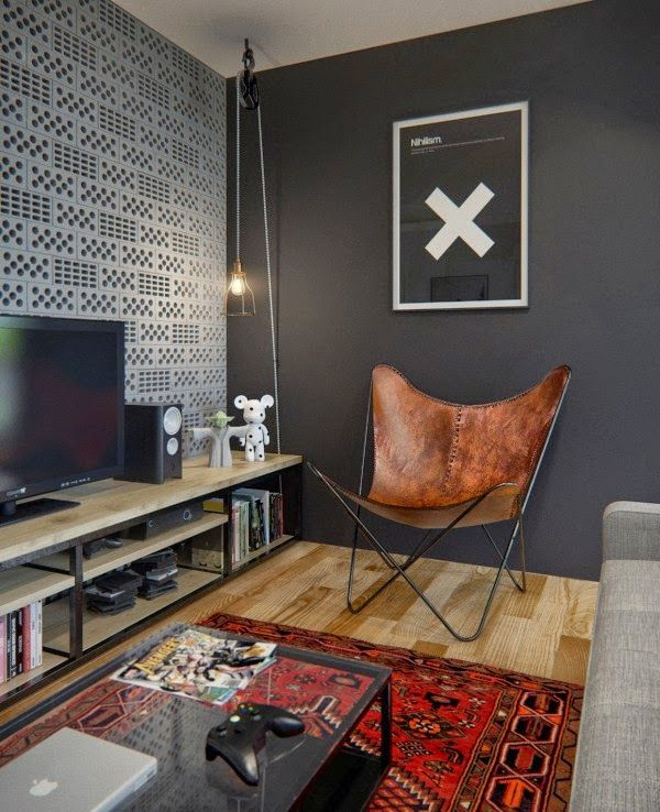 Industrial Chic - with Persian style rug - charcoal walls