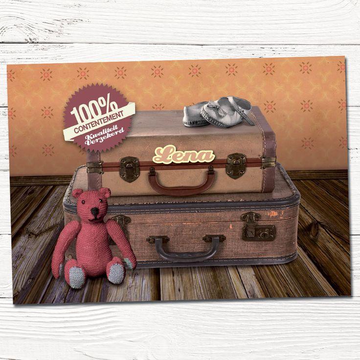 Retro geboortekaartje met beer, vintage koffer, schoentjes | kaartje op maat ontworpen | foto | vintage | retro