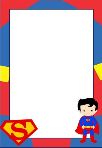 Marcos, Invitaciones, Tarjetas o Etiquetas de Superman para Imprimir Gratis.