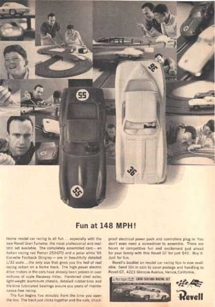 Every kid in the neighborhood had a slot car racing kit, like the one in this Revell ad from 1964
