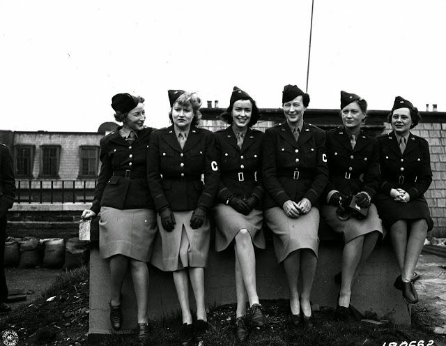 Women in World War II ~ Women war correspondents working in the European Theater of Operations, Feb. 1, 1943. From left to right: Mary Welch, Time and Life; Dixie Tighe, International News Service; Kathleen Harriman, Newsweek; Helen Kirkpatrick, Chicago Daily News; Lee Miller, Vogue; and Tania Long, New York Times. (U.S. Army photo)