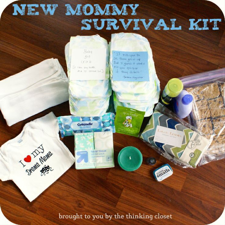 New Mommy Survival Kit | Creative gift idea for your friend who is expecting!  (Fun to go in on with a friend or group.)  via thinkingcloset.com