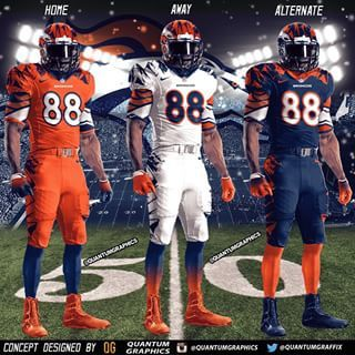 Set of my Denver Broncos Uniform Concepts!! I decided to put all 3 of my Broncos concepts together to display them as Home/Away/Alternate versions. I'll probably put together more sets for other teams  - quantumgraphics via Instagram