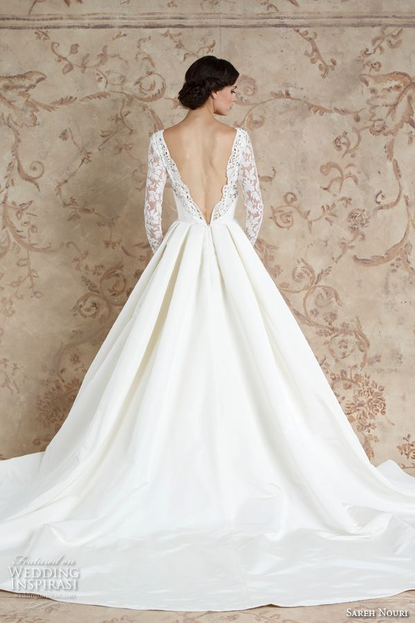 sareh nouri fall 2016 bridal sexy beautiful a  line wedding ball gown dress long sleeves lace deep plunging v neckline style laylee back view