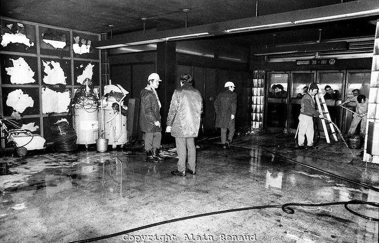 January 23, 1974 File Photo - aftermath of a fire at ROSEMONT Montreal subway station. It took 3 hours to about 100 firemen to control the fire which destroy 9 subway wagon. No one was injured.