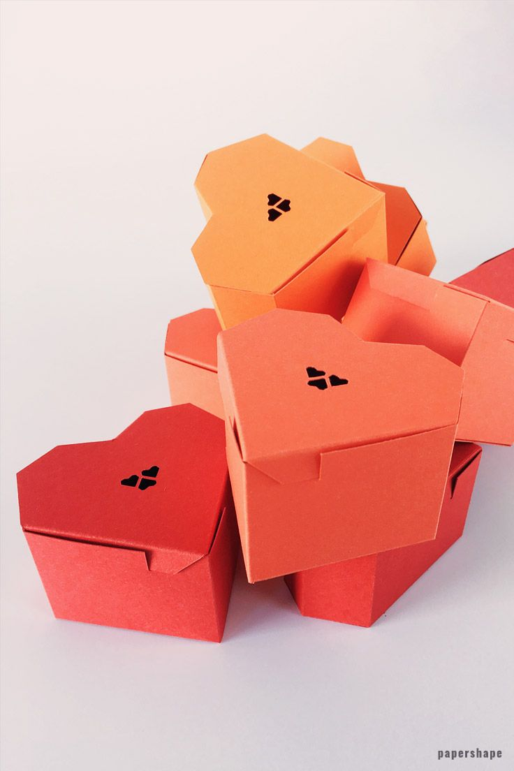 Diy Paper Craft Tutorial Heart Gift Box With Free Printable From Papershape Papercraft Papercrafting