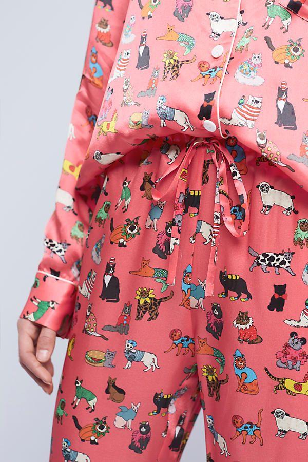 Slide View: 3: Karen Mabon Cat's Pyjamas Silk Sleep Pants