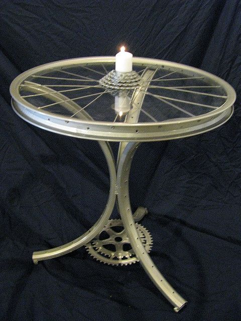 big end table by gilbertvh, via Flickr  this is made from bicycle parts this is a cool recycle piece