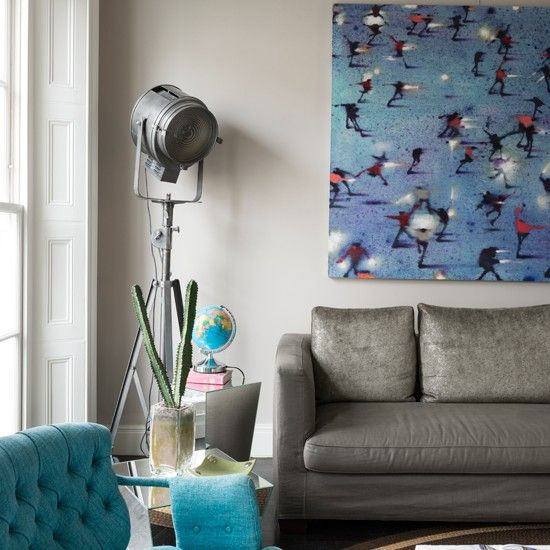 Grey and turquoise living room | Living room decorating ideas | Livingetc | Housetohome.co.uk