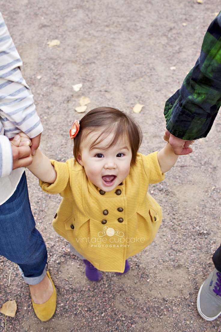 Adorable little girl looking up at camera for Fall Family session Denver, Colorado Family and Child Photographer - The Vintage Cupcake Photography