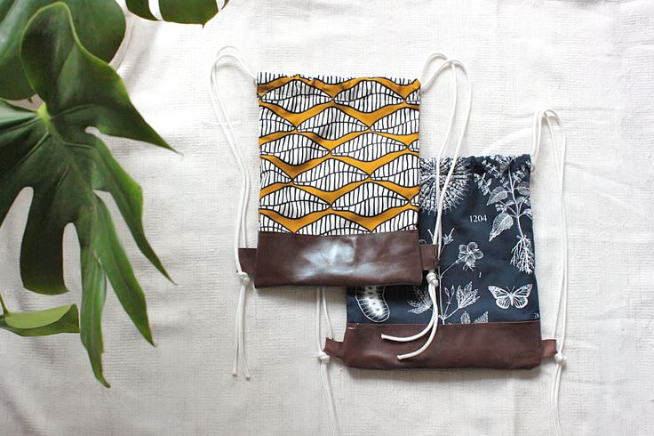 DIY sewing drawstring backpack leather and fabric