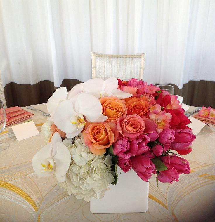 Modern Orange Centerpiece : Best ombre wedding floral designs images on pinterest