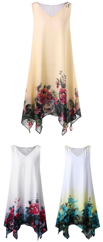 Plus Size Sleeveless Floral Dress
