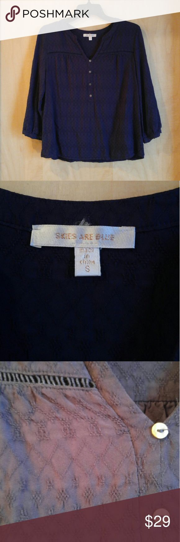 Skies Are Blue Navy Boho Flowy Blouse Skies Are Blue blouse, size small, in excellent condition! Features an embroidered print (see 3rd photo), buttons half way down, and tab button option for rolling up sleeves. Boxy boho fit. Please ask any questions. No trades. Make a reasonable offer. Thanks! Skies Are Blue Tops Blouses