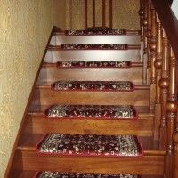 Best No Slip Treads for Stairs Ideas : Awesome Brown Wooden Stair Designed With Wooden Railing Also Banister And Artistic Motif Anti Slip Tread Mats
