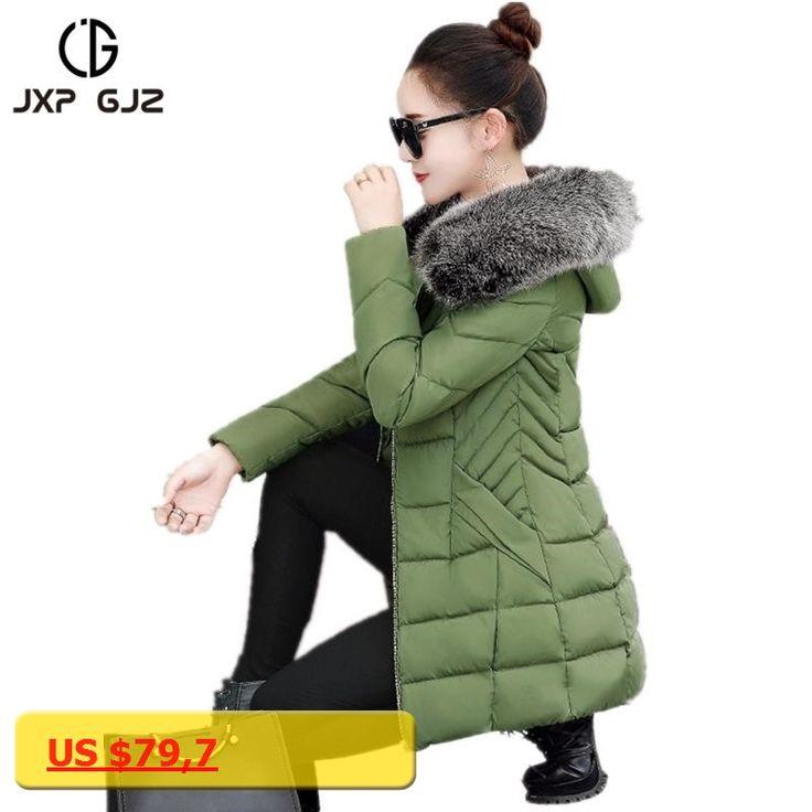 JXP GJZ Winter Women Jacket Coat Parka Black Zipper Long Sleeve Slim Thick Hooded Parkas Regular Plus Size Parkas Femme 3XL XXL