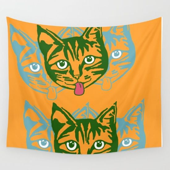 Mollycat Orange - Wall Tapestry @society6 #wallart #tapestry #cats #orange #cute #catseyes #catlovers #fun #giftideas #gifts #homedecor #studentlife