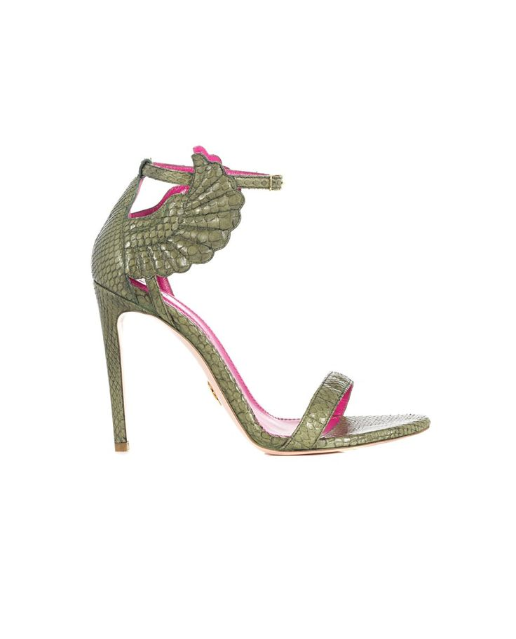 "Green sandals ""Malikah"" leather python with wings on the side leather sole front closure with adjustable strap Heel: 11 cm"