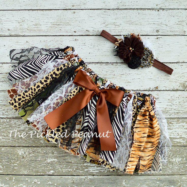 Safari Animal Print Shabby Chic Rag Tie Fabric Tutu Bow ...