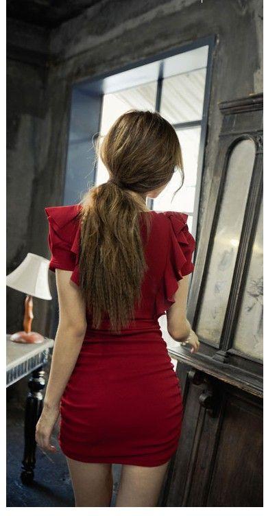 新品新款韩版女装修身夜店性感包臀V领短袖OL大码连衣裙大码定做-淘宝网