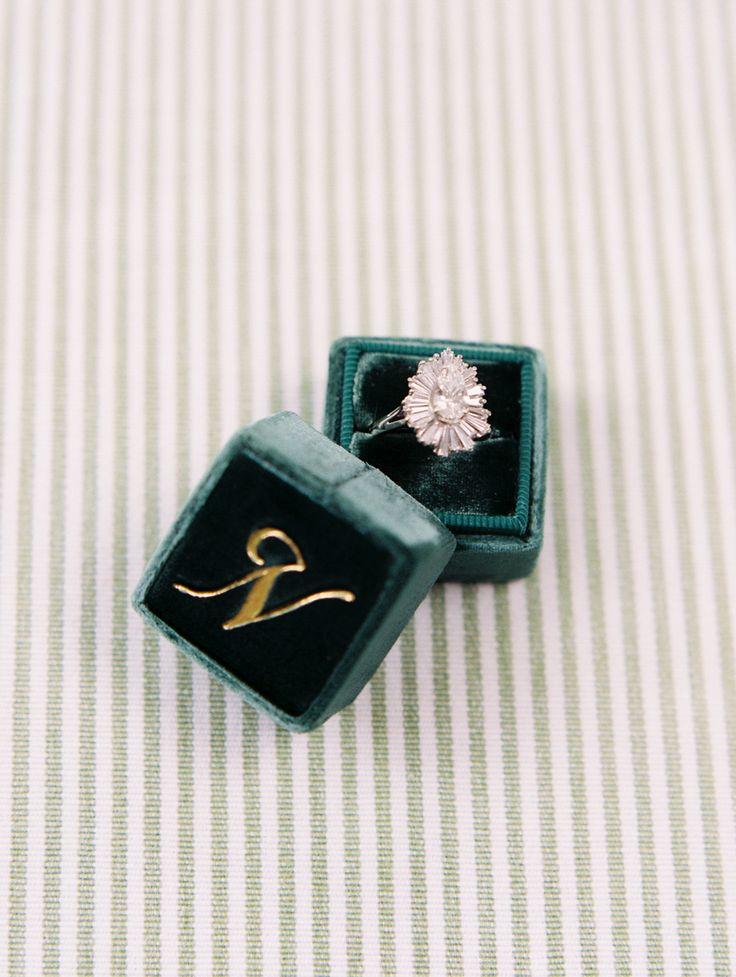 vintage style engagement ring emerald velvet monogrammed ring box | Photography:...