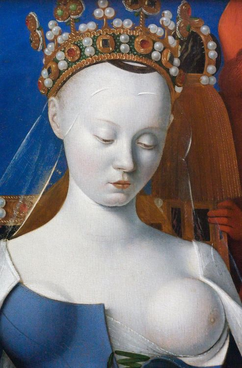 FOUQUET Jean -French (Tours c.1420 - 1480  Tours) - Virgin and Child surrounded by Angels (detail), c.1450