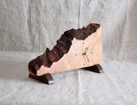 Desk Top or Mantle Clock Rustic Cherry Slab Wood by BuckalooView, $40.00