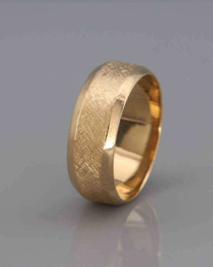 db71b479f73fe Etsy 14k Solid Gold Men's Wedding Band in Rustic Beveled Style   14k solid  gold beveled men ring   4mm 5m