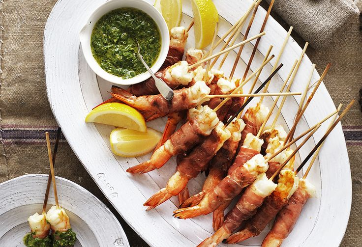 Perfect when drizzled with lemon, these barbecued prosciutto-wrapped prawns are perfect for summer. With herb-rich salsa verde, it packs one big flavour punch!